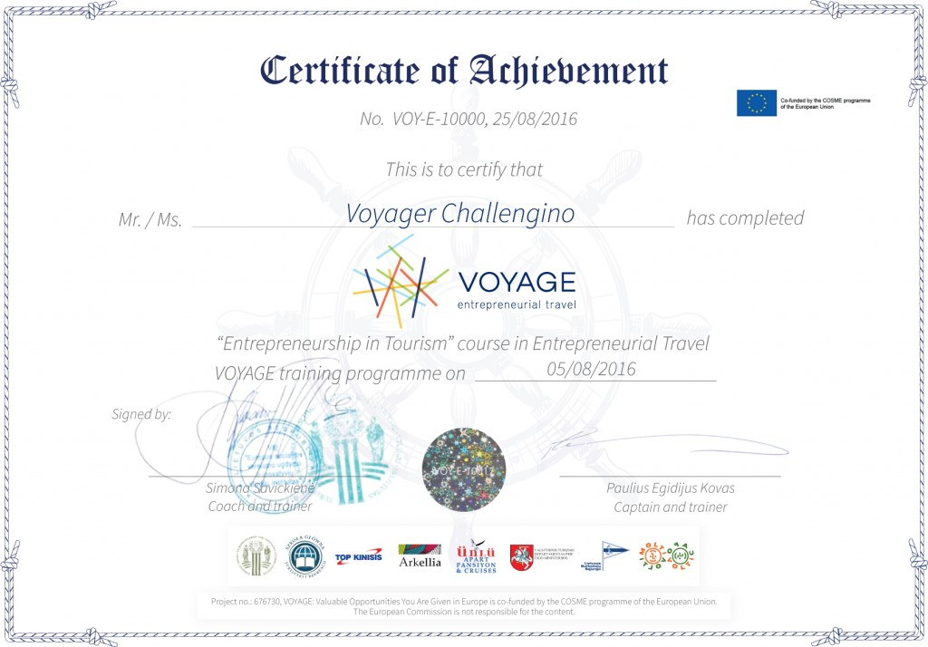 VOYAGE certificate